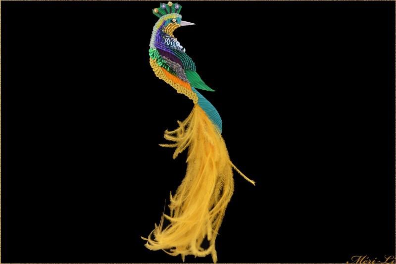 """Broche oiseau """"l'envolé"""" plumes..."""