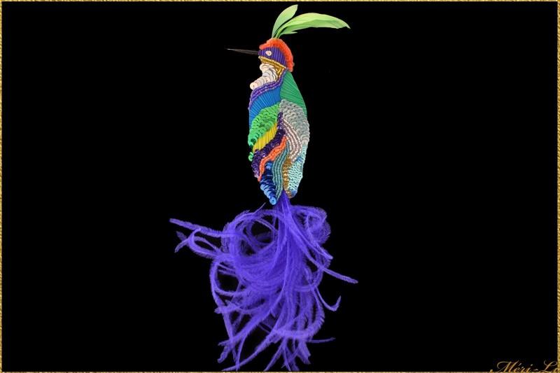 """Broche oiseau """"le guet"""" plumes..."""
